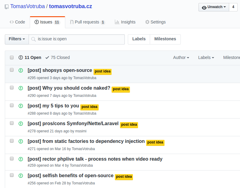 Github issues with posts idea as issues